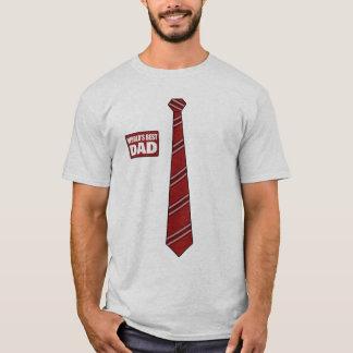 Worlds Best Dad Tag Tie Power Red T-Shirt