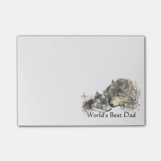 World's Best Dad Watercolor Wolf & Cub Nature Art Post-it® Notes