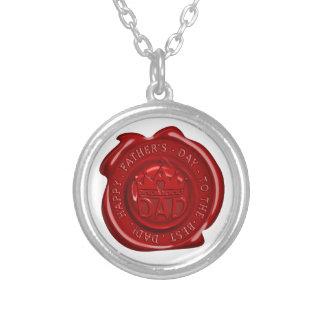 World's best dad wax seal round pendant necklace