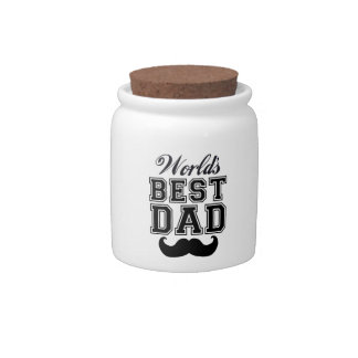 World's best dad with mustache candy jars