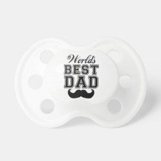 World's best dad with mustache baby pacifiers