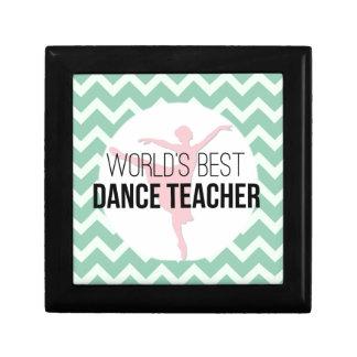 World's Best Dance Teacher - Mint Chevron Keepsake Box