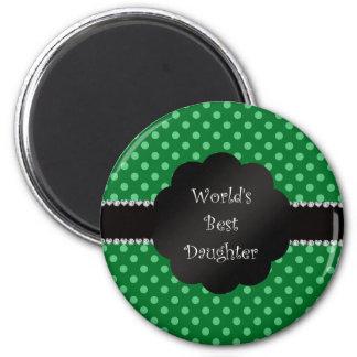 World's best daughter green polka dots refrigerator magnet