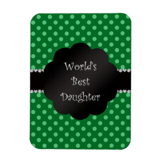 World's best daughter green polka dots rectangular magnets