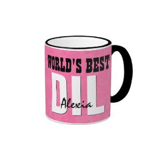 World's Best DAUGHTER IN LAW Pink Grunge V22 Ringer Mug