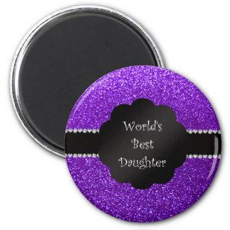 World's best daughter indigo purple glitter fridge magnets