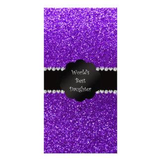 World's best daughter indigo purple glitter photo card