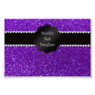 World's best daughter indigo purple glitter photo art