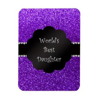 World's best daughter indigo purple glitter rectangle magnets