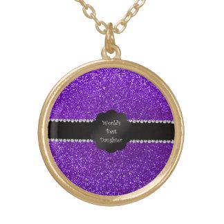 World's best daughter indigo purple glitter round pendant necklace