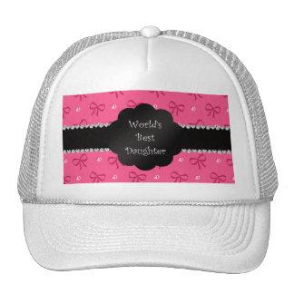 World's best daughter pink bows diamonds trucker hats