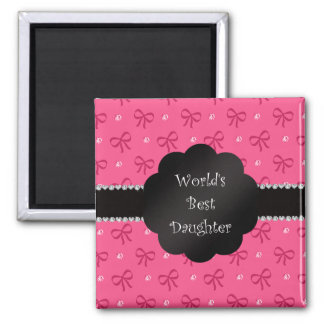 World's best daughter pink bows diamonds magnets