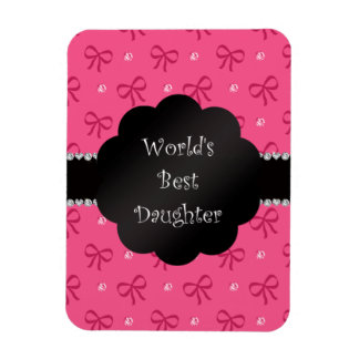 World's best daughter pink bows diamonds flexible magnets