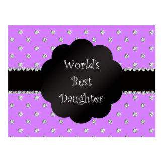 World's best daughter purple diamonds postcard