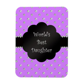 World's best daughter purple diamonds rectangle magnet