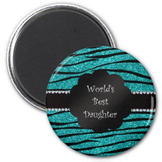World's best daughter turquoise glitter zebra magnets