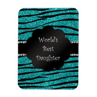 World's best daughter turquoise glitter zebra flexible magnet