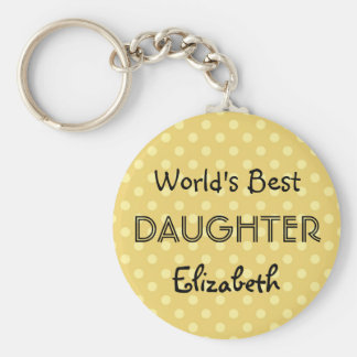 World's Best DAUGHTER Yellow Polka Dots Gift Basic Round Button Keychain