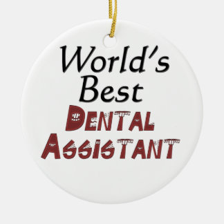 World's Best Dental Assistant Double-Sided Ceramic Round Christmas Ornament