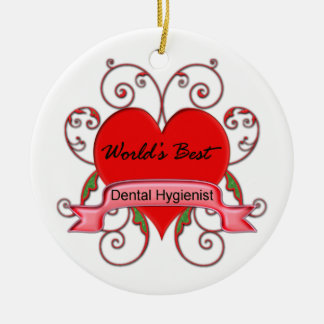 World's Best Dental Hygienist Double-Sided Ceramic Round Christmas Ornament