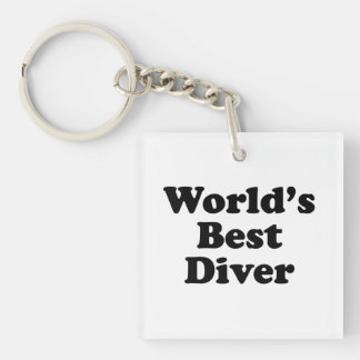World's Best Diver Single-Sided Square Acrylic Keychain