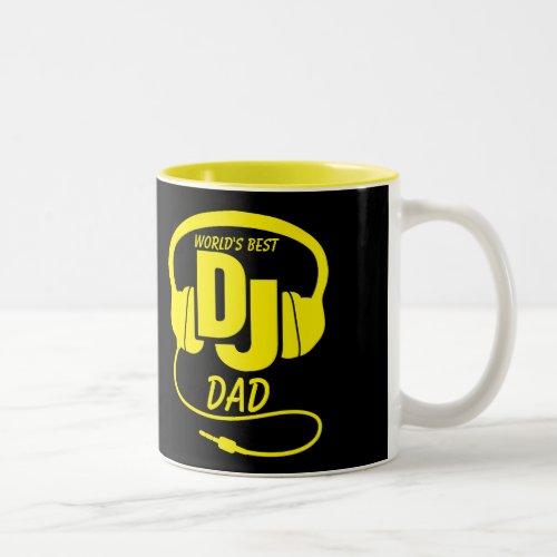 World's best DJ Dad black yellow mug
