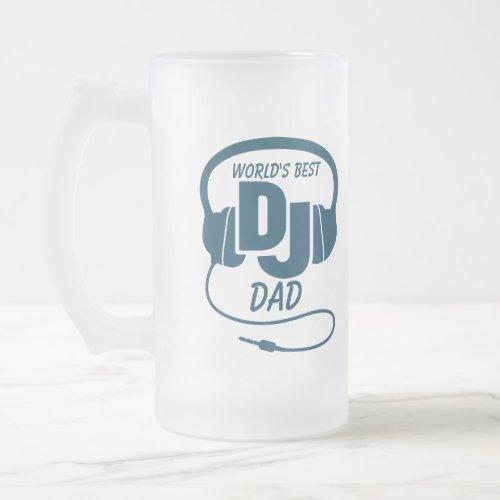 World's best DJ dad  blue beer mug