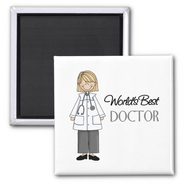 World's Best Doctor,Woman 2 Inch Square Magnet