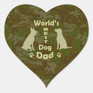 World's Best Dog Dad Heart Sticker