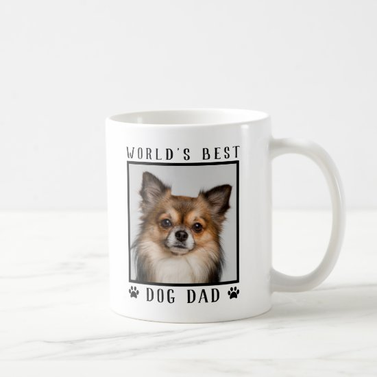 World's Best Dog Dad Paw Prints Pet Photo Frame Coffee Mug