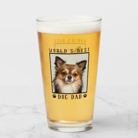 World's Best Dog Dad Paw Prints Pet Photo Frame Glass