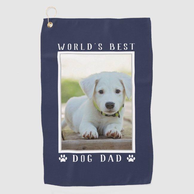 World's Best Dog Dad Paw Prints Pet Photo Navy Golf Towel
