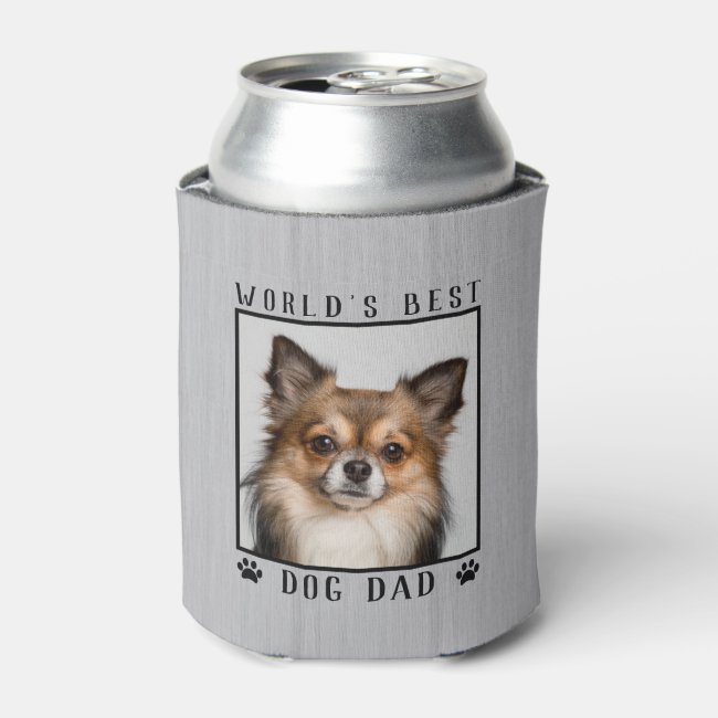 World's Best Dog Dad Paw Prints Pet Photo Rustic Can Cooler