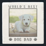 """World's Best Dog Dad Paw Prints Pet Photo Stone Coaster<br><div class=""""desc"""">Let them know you're the """"World's Best Dog Dad"""" with this cute custom design featuring paw prints. Personalize it with your precious puppy dog's photo in the black frame. Tip: You can change the black text,  frame and paw prints to match your photo!</div>"""