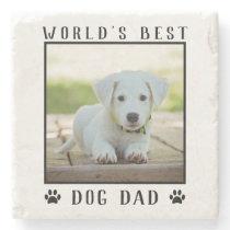 World's Best Dog Dad Paw Prints Pet Photo Stone Coaster