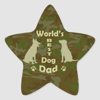 World's Best Dog Dad Star Sticker