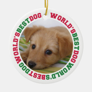 World's best dog green red paw pet custom photo ceramic ornament