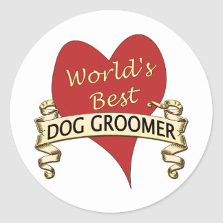 World's Best Dog Groomer Classic Round Sticker