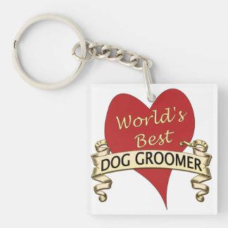 World's Best Dog Groomer Single-Sided Square Acrylic Keychain