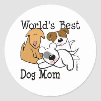 World's Best Dog Mom Classic Round Sticker