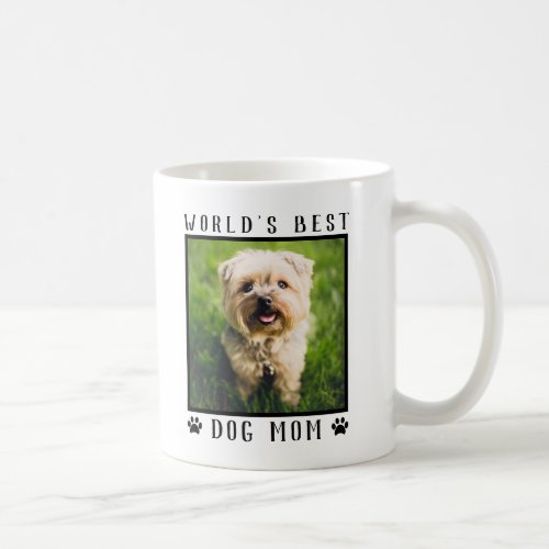 Worlds Best Dog Mom Paw Prints Pet Photo Frame Coffee Mug