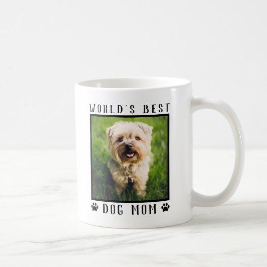 99c426ce454 World's Best Dog Mom Paw Prints Pet Photo Frame Coffee Mug | Zazzle.com