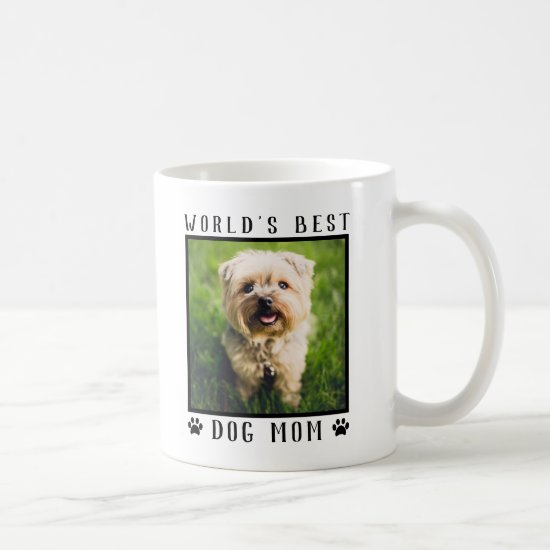 World's Best Dog Mom Paw Prints Pet Photo Frame Coffee Mug