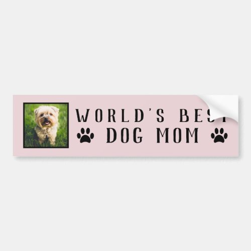 Worlds Best Dog Mom Paw Prints Pet Photo Pink Bumper Sticker