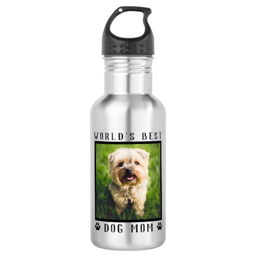 World's Best Dog Mom Pet Photo Paw Prints Stainless Steel Water Bottle