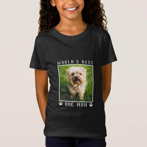 Worlds Best Dog Mom Pet Photo Paw Prints T_Shirt