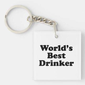 World's Best Drinker Single-Sided Square Acrylic Keychain