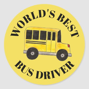 USA Themed World's Best Driver Yellow School Bus Education Classic Round Sticker