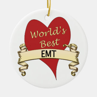 World's Best EMT Double-Sided Ceramic Round Christmas Ornament