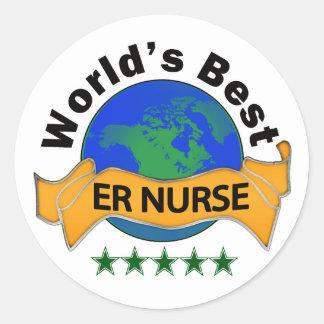 World's Best ER Nurse Classic Round Sticker